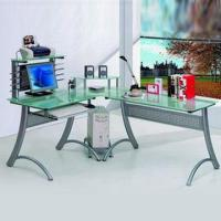 Buy cheap Tempered Glass Corner Desk with CD Rack and Printer Panel from wholesalers