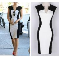 Buy cheap leeveless Dress Women's Black And White Patchwork Pencil Dress Women V-neck Casual Dresses from wholesalers