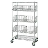 Buy cheap Adjustable Chrome Storage Rack With Wheels ,4 Shelf Wire Shelving With Dividers from wholesalers