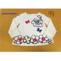 China Big Floral Print Children T Shirt Butterfly Applique Embroidery Long Sleeve 100% Cotton on sale