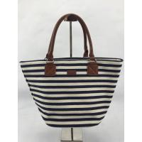 Eco Friendly Black And White Striped Tote Bag Custom Design With Inner Pocket