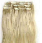 Buy cheap Yellow Virgin Human Hair Extensions clip in , Elegant Virgin Russian Hair Wefts from wholesalers