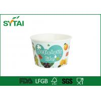Buy cheap Recycle Blue Paper Ice Cream Cups Disposable Salad Bowls With Lids Spoon from wholesalers