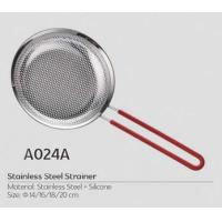 Buy cheap 16cm metal cooking tool stainless steel big basket strainer with plastic metal,silicone handle with FDA certificate from wholesalers