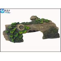 Buy cheap Hollow Log Tree Aquarium Ornament With Green Plants ,  Custom Tropical Fish Tank Decorations from wholesalers