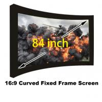 Buy cheap High Quality 16:9 Curved Fixed Frame Screen 84 Inch Matt White With 80mm Black Velevt from wholesalers