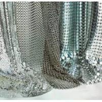 Buy cheap Silver / Golden Wire Mesh Curtain Aluminum Metallic Sequined Fabrics Multi Shape from wholesalers