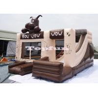 Buy cheap 0.55mm PVC Tarpaulin Inflatable Chocolate Jumping Bouncer Castle With Slide from wholesalers