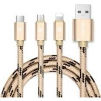 China Apple Noodles 3 In 1 Lightning USB Cable 1M Length Nylon Braided Outer Material on sale