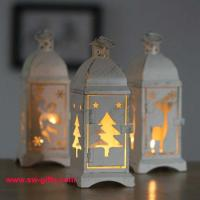 Buy cheap White Metal Lantern Christmas Decoration Designs Hurricane Lamp Nordic Candle Holder from wholesalers