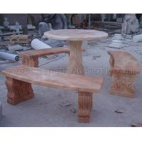 Buy cheap sunset red marble carved table from wholesalers