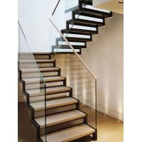 Buy cheap Stainless steel straight solid wood staircase with glass balustrade product