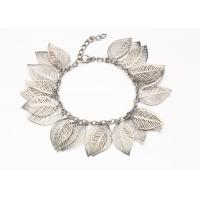 Buy cheap Silver Hollow Leaf Costume Jewelry Charm Bracelets With Clasp Extender product