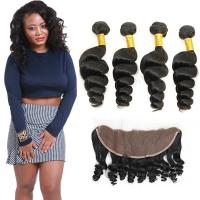 Buy cheap Authentic 8A Loose Curly Indian Remy Hair Weave 4 Bundles With Frontal from wholesalers
