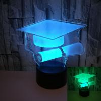 Buy cheap New bachelor hat 3D night lights custom OEM sign picture Graduate gift 3D small table lamp from wholesalers
