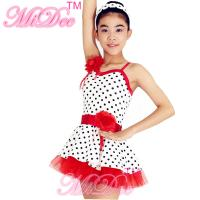 Buy cheap Lycra Kids Dance Clothes Red White Polka Dot Dance Dress With Flowers Trim from wholesalers