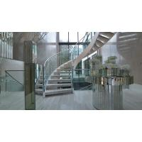 Buy cheap Prefab metal stringer frame glass railing arc curved staircase product