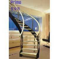 Buy cheap custom curved staircase wood / carving wooden stair railing / indoor curved stairs from wholesalers