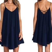 Buy cheap Newest Design Women Wholesale Sexy Spaghetti Strap Pure Color Flare Off Shoulder Casual Dress from wholesalers