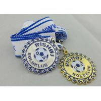 Buy cheap 2D or 3D Gold Plating Iron / Brass / Zinc Alloy Rishoj Iron Stamped Ribbon Medals with Soft Enamel from wholesalers