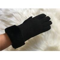 Buy cheap Handsewn Sheepskin Double Face Hand-stitched Glove Black Shearling Leahter gloves from wholesalers