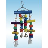 Buy cheap wooden bird toy made with wooden beads, ropes,rawhide and bells from wholesalers