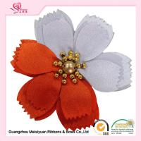 Buy cheap 2 colors petals Beaded Handmade Satin Flowers Corsage customized size from wholesalers