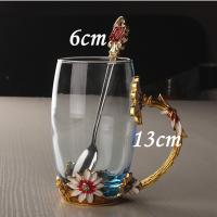 Buy cheap Tall Crystal Enamel Glasses Heat Resistant Daisy Carved Enamel Glass Cup for Sale from wholesalers
