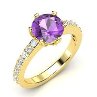 Buy cheap Engagement Jewelry Anniversary Ring Women's 18K Gold Gemstone Amethyst Ring JSHG324 from wholesalers