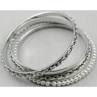 Buy cheap metal set bangles in iron with metal chain and ABS pearl from wholesalers