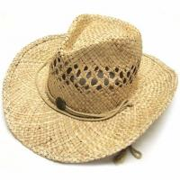 Buy cheap Summer Unisex Woven Straw Cowboy Hats With Fedora Band Outdoor Protecting from wholesalers