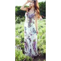 Buy cheap Floral Printed Hanging Neck Ankle-length Shift Dress product