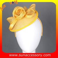 Buy cheap 0908 Elegant design yellow sinamay fascinators hats for ladies  ,Fancy Sinamay fascinator  from Sun Accessory from wholesalers