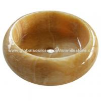 Buy cheap Bathroom stone sink in Chinese honey onyx material, various shapes are available from wholesalers