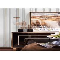 Buy cheap Silver And White Vertical Striped Wallpaper For Walls Decor , Fashionable product