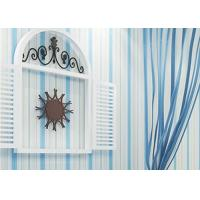 Buy cheap Embossed Kids Bedroom Wallpaper Vinyl Blue and White Striped Wallpaper from wholesalers