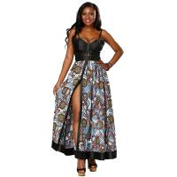 Buy cheap Two Piece Design Long African Print Dresses Split Button Placket Front Skirt from wholesalers