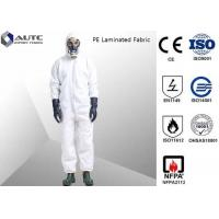 Buy cheap PE Laminated PPE Safety Wear , Chemical Resistant Coveralls With SMS Back Panel from wholesalers