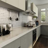 L Shaped Melamine Kitchen Cabinets With Stainless Steel
