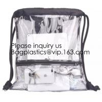 Buy cheap Clear Drawstring Bag - PVC Drawstring Backpack with Mesh Side Pockets for School, Music Festivals, Sporting Events, Trav from wholesalers