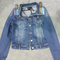Buy cheap ladies denim jackets combined with jacquard patch,designed produced by jeans factory from wholesalers