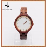 Buy cheap Ladies Red Sandal Wooden Wrist Watch 38mm Diameter White Dial Art from wholesalers