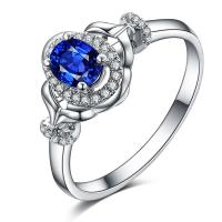 Buy cheap Real Sapphire Engagement Rings , Blue Sapphire Ring White GoldFor Her from wholesalers