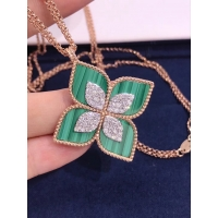 Buy cheap Roberto Coin 18K VENETIAN PRINCESS MEDIUM FLOWER MALACHITE & DIAMOND NECKLACE product