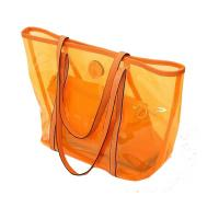 Buy cheap Transparent Ladies Tote Bags Clear PVC Handbags , Orange / Red / Blue from wholesalers