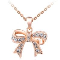 Buy cheap Rose Gold Zircon Fashion Jewelry Pendants Silver Base Butterfly Bow from wholesalers