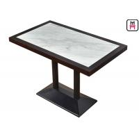 Buy cheap 4 Seats Commercial Restaurant Tables Luxury Marble Inset Wood 4ft*2ft Casting Iron from wholesalers