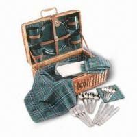 Buy cheap Picnic Basket Set, Made of Wicker or Willow, Includes Four Plates and Large Spoons from wholesalers