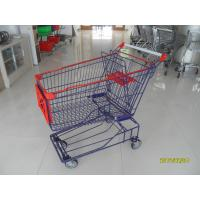 Customised 150L Wire Shopping Carts Asian Style With Low Tray And 4 Swivel Flat TPE Casters