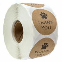 Buy cheap Brown Kraft Non Adhesive Stickers , Dog Paw Printing Thank You Labels from wholesalers